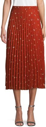 Max Studio Circle-Print Pleated Midi Skirt