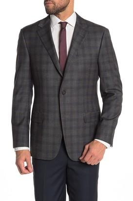 Hickey Freeman Windowpane Classic Fit Wool Blend Suit Jacket