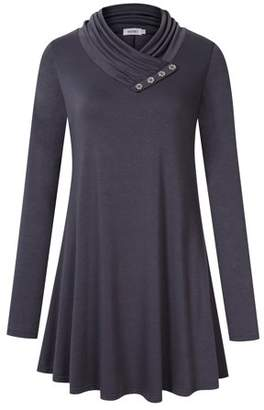 Lintimes Stylish Women's Long Sleeve Cowl Neck Pleated Casual Flared Tunic Top Blouse