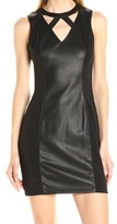 GUESS Black Women's Size 6 Sheath Faux-Leather Solid Cutout Dress