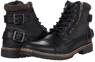 Steve Madden Welkom Lace-Up Boot (Black Leather) Men's Boots