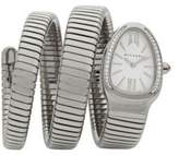 Bvlgari Serpenti Diamond & Stainless Steel Wraparound Tubogas Bracelet Watch