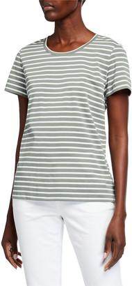 Lafayette 148 New York Modern Cotton Stripe T-Shirt
