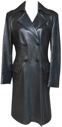 DKNY Black Leather Coat for Women Vintage