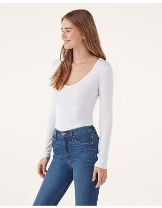 Splendid 1X1 Rib V-Neck Long Sleeve