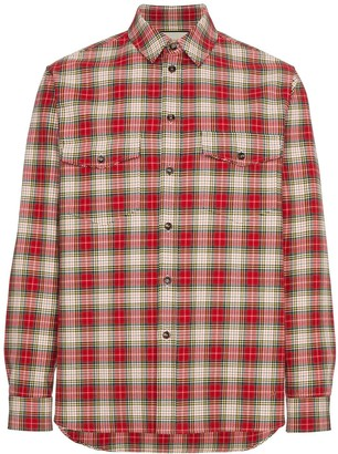 Gucci Snake Embroidery Glen Plaid Shirt