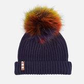 BKLYN Women's Merino Wool Hat with Rainbow Pom Navy