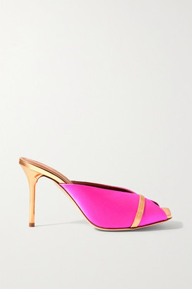 Malone Souliers Lucia 85 Metallic Leather-trimmed Satin Mules