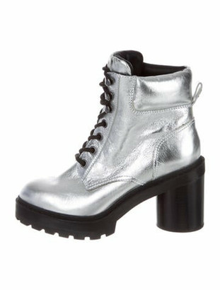 Marc Jacobs Leather Combat Boots Metallic