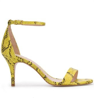 Schutz Snakeskin Print Mid-Heel Sandals