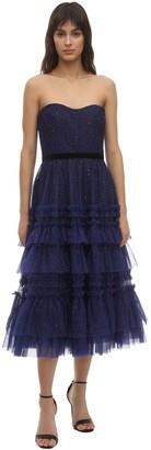 Marchesa Notte Glittered Tulle Midi Dress