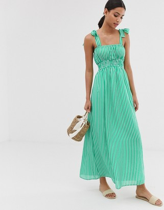 Asos Design DESIGN seersucker shirred maxi dress in stripe with tie straps-Multi