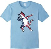 Funny Dabbing Cat American Flag Shirt 4th of July Clothing