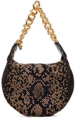 Versace Black Crystal Medusa Chain Bag