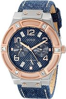 GUESS STEEL W0289L1,Ladies Dress Sport,Multi Function,Two tones,Rose Gold Tone,Stainless Steel Case,Leather Strap,WR
