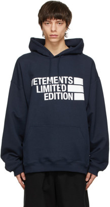 Vetements Navy Limited Edition Big Logo Hoodie