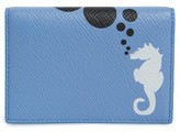 Smythson Women's Seahorse Leather Card Case - Blue