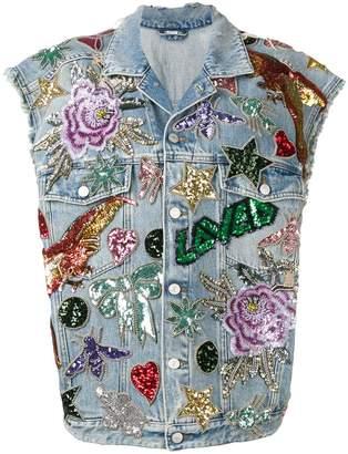 Gucci sequin-embellished denim gilet