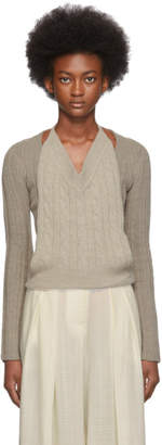 Jacquemus Grey La Double Maille V-Neck Sweater