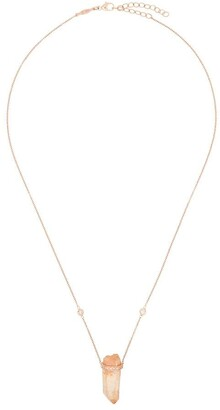 Jacquie Aiche 14kt yellow gold orange quartz pendant diamond necklace