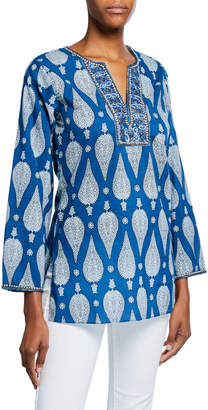 Bella Tu Jaya V-Neck Long-Sleeve Hand-Beaded Tunic