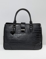Marc B Marlene Croc Push Lock Tote Bag