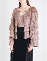 Missoni Fringed metallic-knit jacket