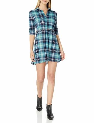 WallFlower Women's Juniors Knit Plaid Belted Dress