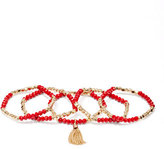 New York & Co. 5-Row Beaded Tassel Stretch Bracelet Set