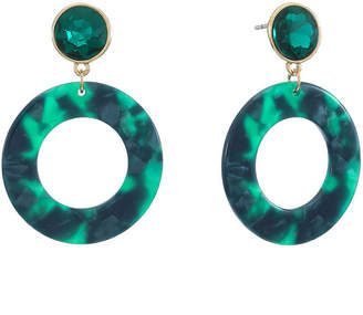 Liz Claiborne Resin Green Drop Earrings