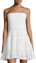 See by Chloe Strapless Eyelet Fit-&-Flare Dress, White