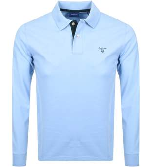 Gant Long Sleeve Polo T Shirt Blue