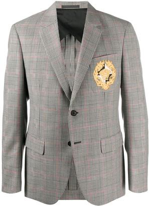 Versace Medusa patch checked blazer
