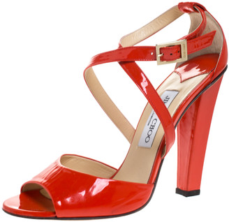 Jimmy Choo Orange Patent Leather Cross Strap Block Heel Sandals Size 38.5