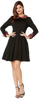 Unique Vintage Smak Parlour for UV Long Sleeve New A-List Fit-and-Flare Dress (Black/Red Plaid) Women's Clothing