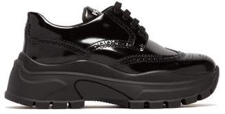 Prada Oversized Brogue Leather Trainers - Womens - Black