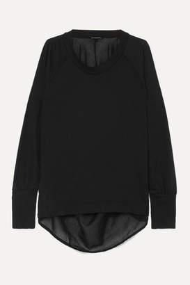 Ann Demeulemeester Faille-trimmed Cotton-jersey Top - Black