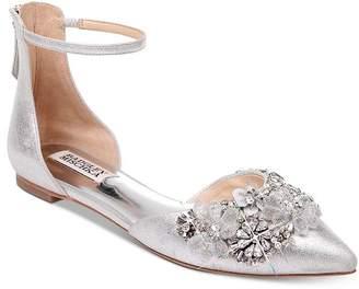 Badgley Mischka Women's Abby 2 Crystal-Embellished Pointed Toe Flats