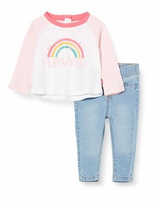 Levi's Kids Lvg Colorblock Raglan Denim Se Baby and Toddler Layette Set Baby Girls White 9 Months