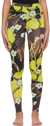 Dries Van Noten Yellow and Brown Floral Leggings