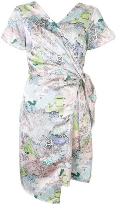 PortsPURE Map-Print Wrap Dress