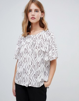 Ichi Printed Blouse With Cape Sleeves