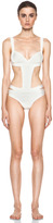 Herve Leger Side Cut Out One Piece Swimsuit in Alablaster