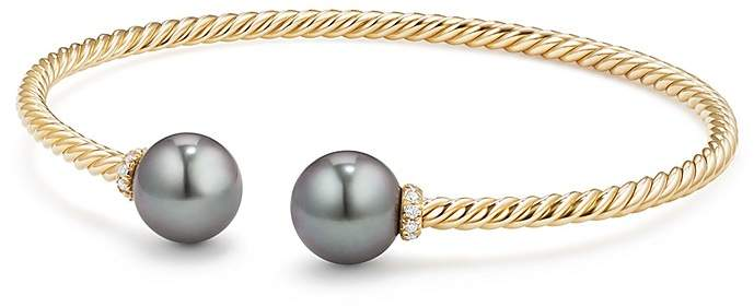 David Yurman Solari Bead Bracelet with Diamonds & Cultured Tahitian Gray Pearl in 18K Gold