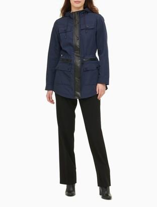 Calvin Klein Hooded Zip Cinch Waist Anorak Jacket