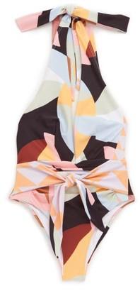 Self-Portrait Plunge Halterneck Geometric-print Swimsuit - Multi