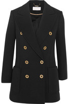 Chloé Double-breasted Wool-piqué Blazer - Black
