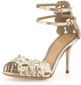 Charlotte Olympia Margherita Metallic Ankle-Strap Sandal