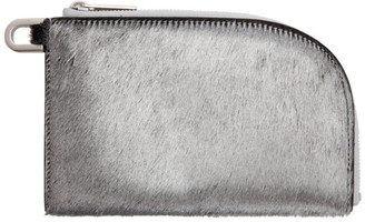 Rick Owens Silver Pony Hair Zip Pouch