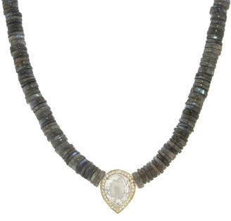 Jacquie Aiche Teardrop Pave Aquamarine On Labradorite Disc Beaded Necklace - Yellow Gold